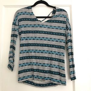 Patterned, tie back Lucky Brand Top